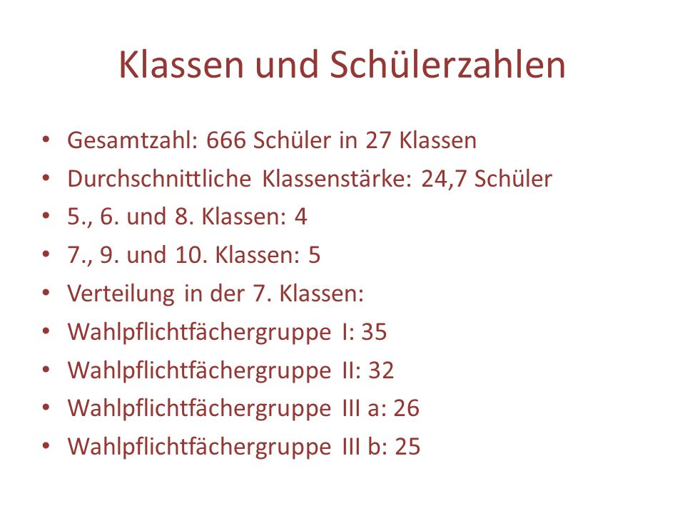Klassen und Schülerzahlen Gesamtzahl: 666 Schüler in 27 Klassen Durchschnittliche Klassenstärke: 24,7 Schüler 5., 6. und 8. Klassen: 4 7., 9. und 10.