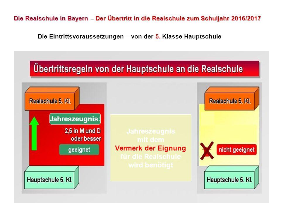 Die Realschule in Bayern – Der Übertritt in die Realschule zum Schuljahr 2016/2017 Die Eintrittsvoraussetzungen – von der 5. Klasse Hauptschule Jahres