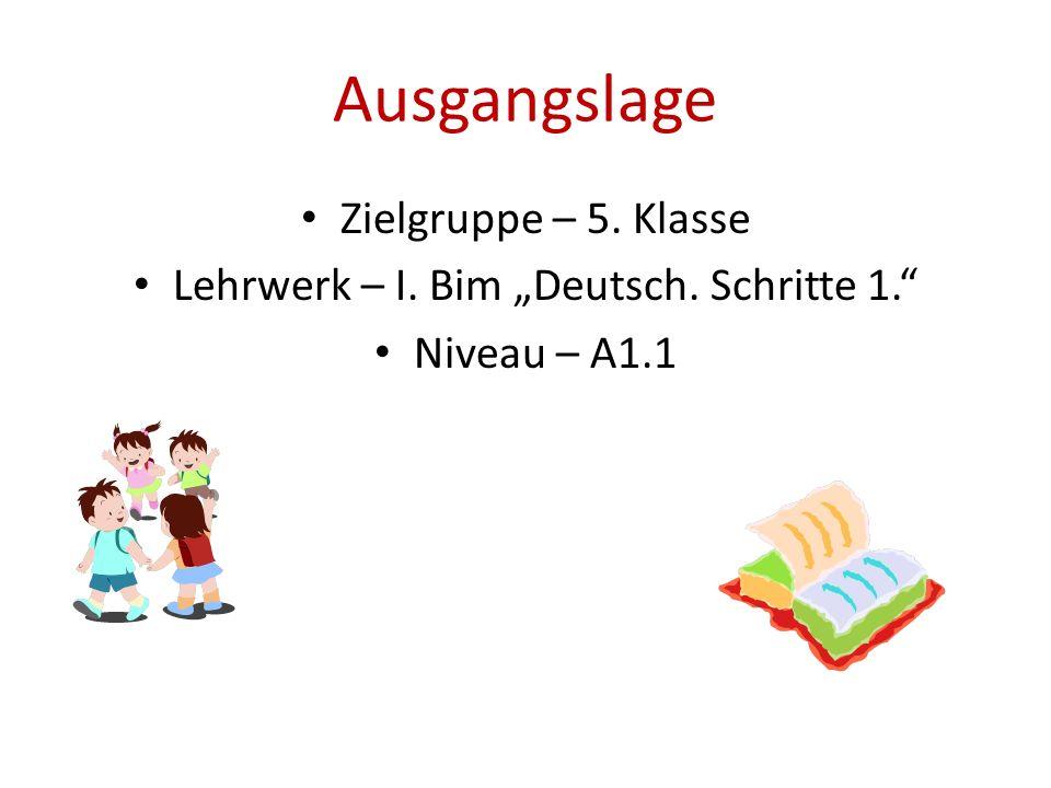 "Ausgangslage Zielgruppe – 5. Klasse Lehrwerk – I. Bim ""Deutsch. Schritte 1."" Niveau – A1.1"