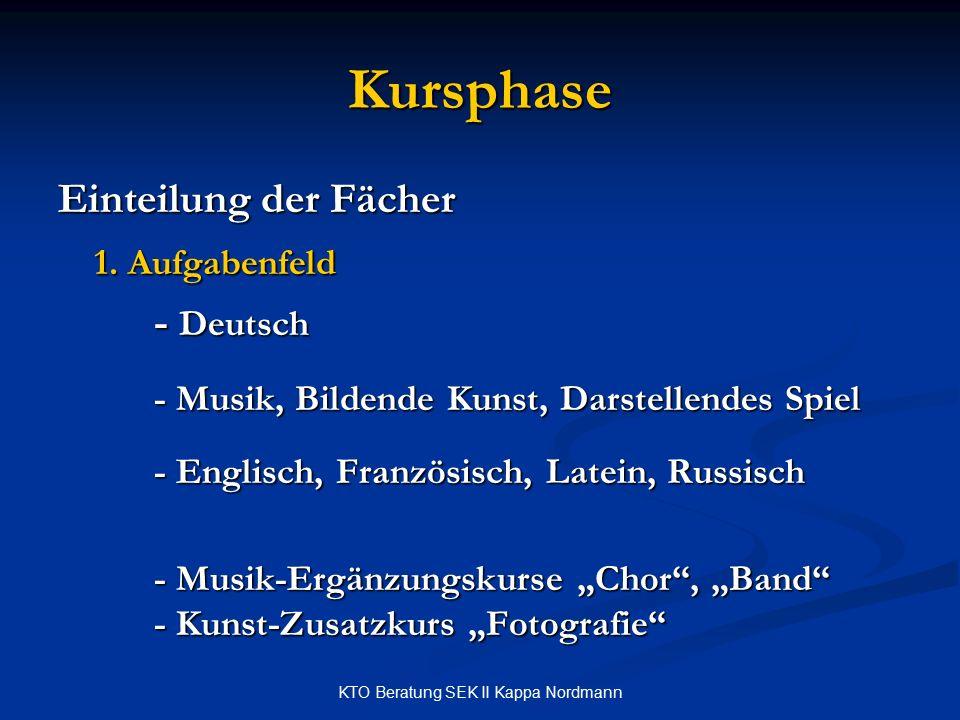 KTO Beratung SEK II Kappa Nordmann Kursphase Einteilung der Fächer 1.