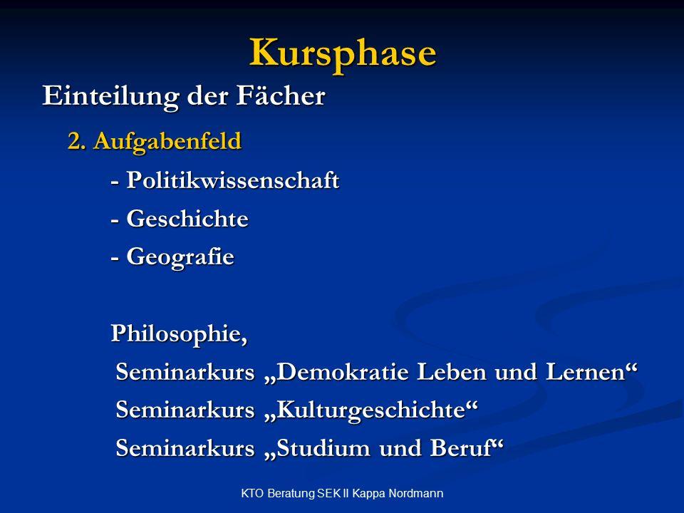 KTO Beratung SEK II Kappa Nordmann Kursphase Einteilung der Fächer 2. Aufgabenfeld - Politikwissenschaft - Geschichte - Geografie Philosophie, Seminar