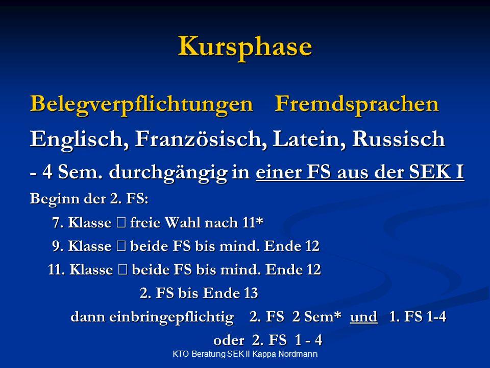 KTO Beratung SEK II Kappa Nordmann Kursphase BelegverpflichtungenFremdsprachen Englisch, Französisch, Latein, Russisch - 4 Sem. durchgängig in einer F