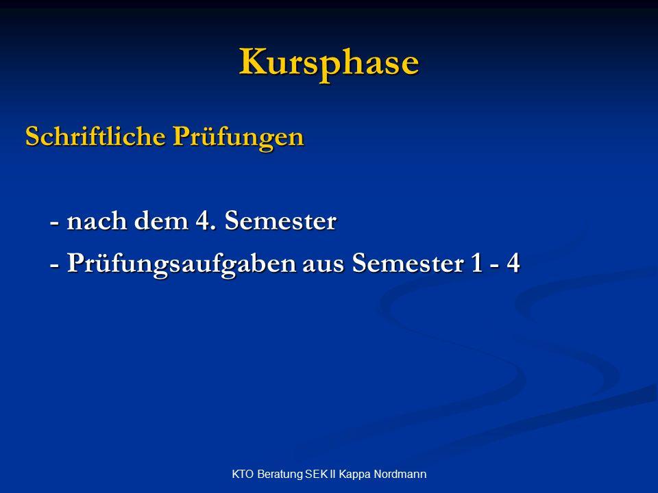 KTO Beratung SEK II Kappa Nordmann Kursphase Schriftliche Prüfungen - nach dem 4. Semester - Prüfungsaufgaben aus Semester 1 - 4