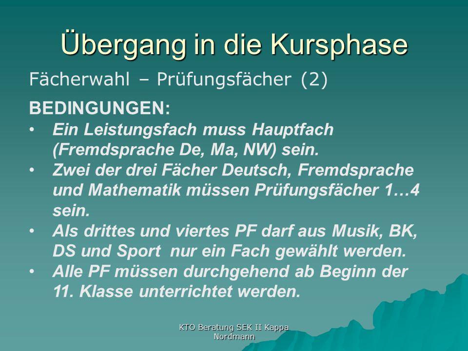 Übergang in die Kursphase KTO Beratung SEK II Kappa Nordmann Fächerwahl – Prüfungsfächer (2) BEDINGUNGEN: Ein Leistungsfach muss Hauptfach (Fremdsprache De, Ma, NW) sein.