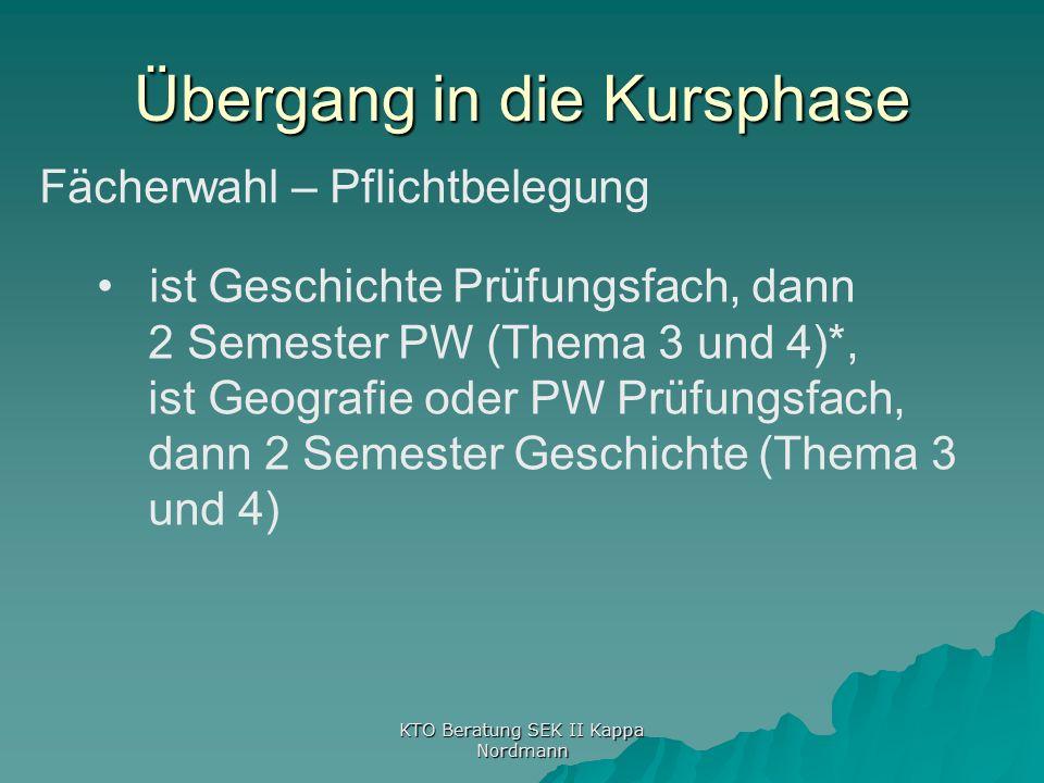 KTO Beratung SEK II Kappa Nordmann Übergang in die Kursphase Fächerwahl – Pflichtbelegung ist Geschichte Prüfungsfach, dann 2 Semester PW (Thema 3 und 4)*, ist Geografie oder PW Prüfungsfach, dann 2 Semester Geschichte (Thema 3 und 4)