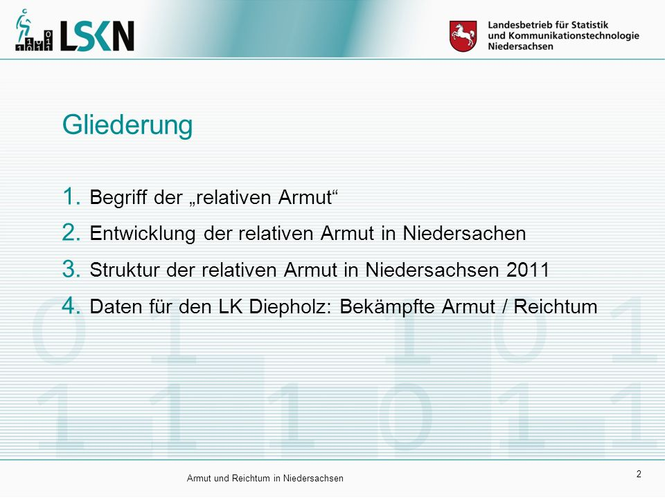 """2 Gliederung  Begriff der """"relativen Armut""""  Entwicklung der relativen Armut in Niedersachen  Struktur der relativen Armut in Niedersachsen 2011"""