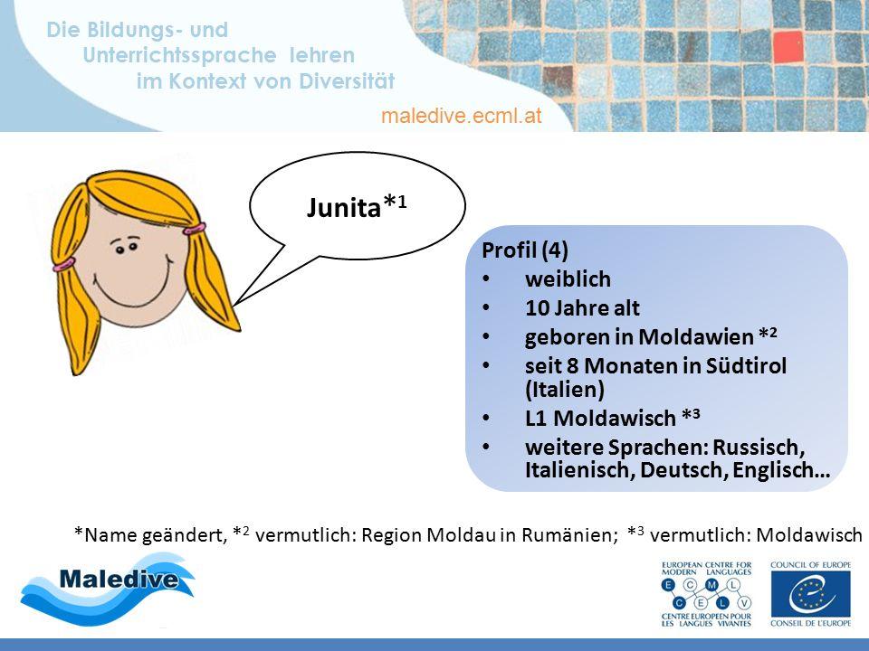 Die Bildungs- und Unterrichtssprache lehren im Kontext von Diversität maledive.ecml.at Lernerprofile – deutsch Profil 4