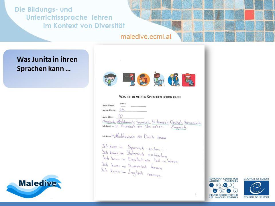 Die Bildungs- und Unterrichtssprache lehren im Kontext von Diversität maledive.ecml.at Wie Junita ihr mehrsprachiges Repertoire darstellt …