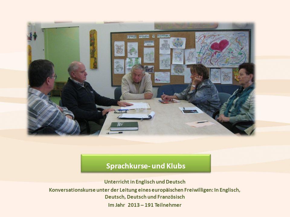 Sprachkurse- und Klubs Unterricht in Englisch und Deutsch Konversationskurse unter der Leitung eines europäischen Freiwilligen: In Englisch, Deutsch, Deutsch und Französisch Im Jahr 2013 – 191 Teilnehmer