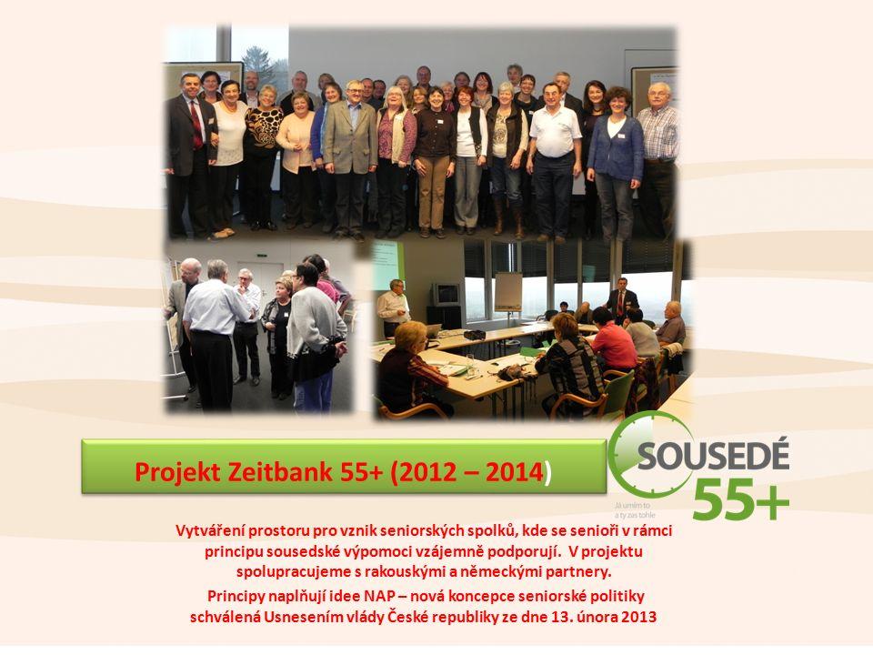 Projekt Zeitbank 55+ (2012 – 2014) Vytváření prostoru pro vznik seniorských spolků, kde se senioři v rámci principu sousedské výpomoci vzájemně podporují.