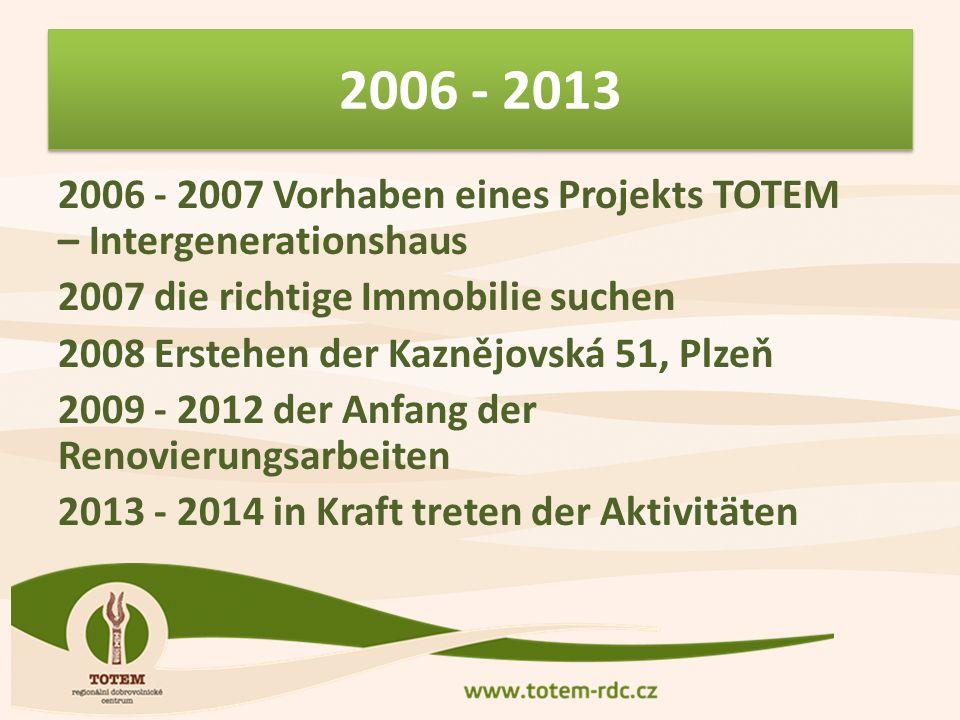 2006 - 2013 2006 - 2007 Vorhaben eines Projekts TOTEM – Intergenerationshaus 2007 die richtige Immobilie suchen 2008 Erstehen der Kaznějovská 51, Plzeň 2009 - 2012 der Anfang der Renovierungsarbeiten 2013 - 2014 in Kraft treten der Aktivitäten