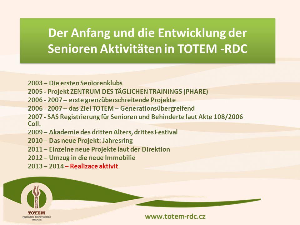 2003 – Die ersten Seniorenklubs 2005 - Projekt ZENTRUM DES TÄGLICHEN TRAININGS (PHARE) 2006 - 2007 – erste grenzüberschreitende Projekte 2006 - 2007 – das Ziel TOTEM – Generationsübergreifend 2007 - SAS Registrierung für Senioren und Behinderte laut Akte 108/2006 Coll.