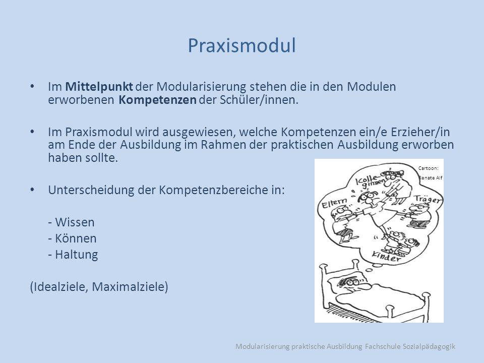 Modularisierung praktische Ausbildung Fachschule Sozialpädagogik Praxismodul Im Mittelpunkt der Modularisierung stehen die in den Modulen erworbenen Kompetenzen der Schüler/innen.