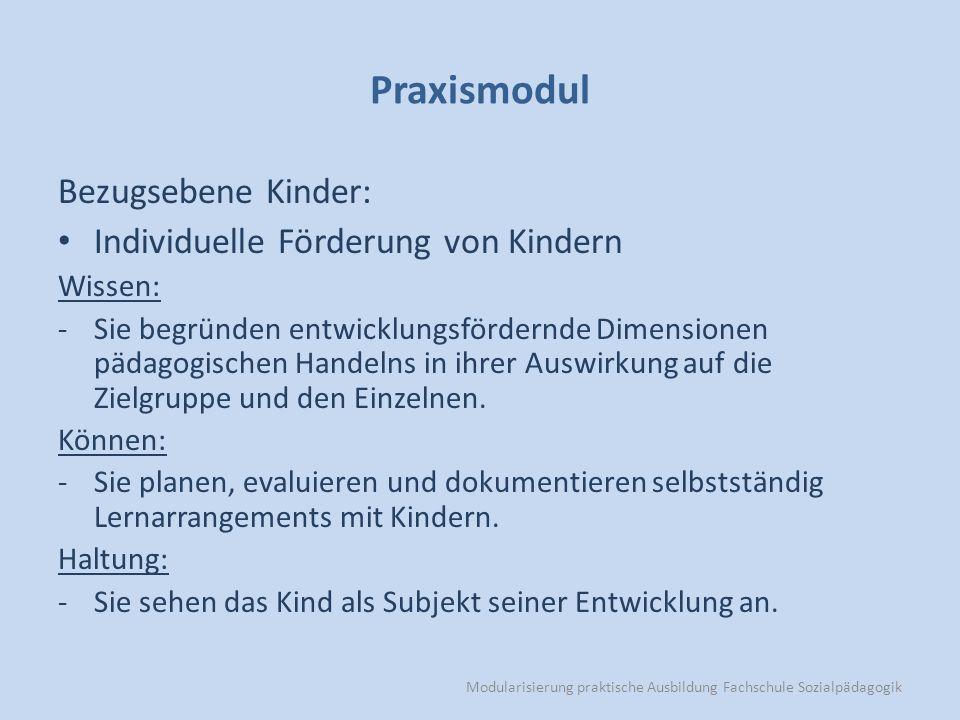 Modularisierung praktische Ausbildung Fachschule Sozialpädagogik Praxismodul Bezugsebene Kinder: Individuelle Förderung von Kindern Wissen: -Sie begründen entwicklungsfördernde Dimensionen pädagogischen Handelns in ihrer Auswirkung auf die Zielgruppe und den Einzelnen.