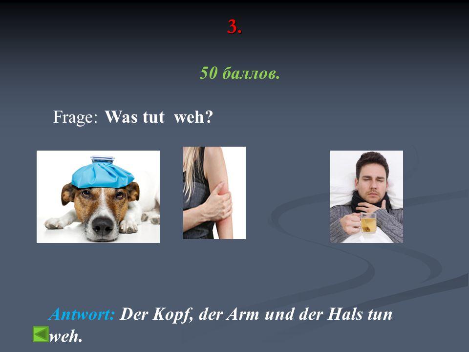 3. 50 баллов. Frage: Was tut weh Antwort: Der Kopf, der Arm und der Hals tun weh.