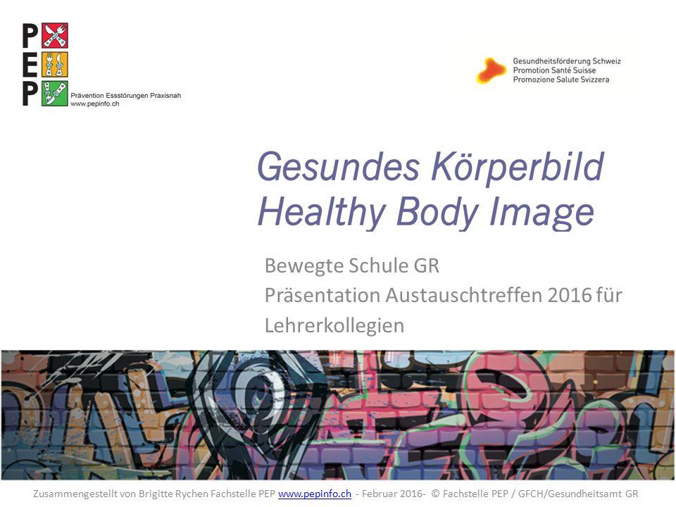 Healthy body image Körperunzufriedenheit Einige Zahlen aus den Jahren 2009/2010 (Deutschland und CH) Im Laufe der Pubertät nimmt der Anteil der Mädchen, die mit ihrer Figur unzufrieden sind um 50% zu, 46% sind mit ihrem Gewicht unzufrieden 1/3 der 11- 17 jährigen Jungs finden ihre Figur nicht okay 17% der Jungs möchten muskulöser sein ( KIGGS Studie 2006 – 17`000 Jugendliche / Dr.