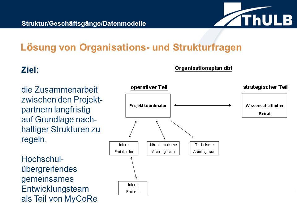 Ziel: die Zusammenarbeit zwischen den Projekt- partnern langfristig auf Grundlage nach- haltiger Strukturen zu regeln. Hochschul- ü bergreifendes geme