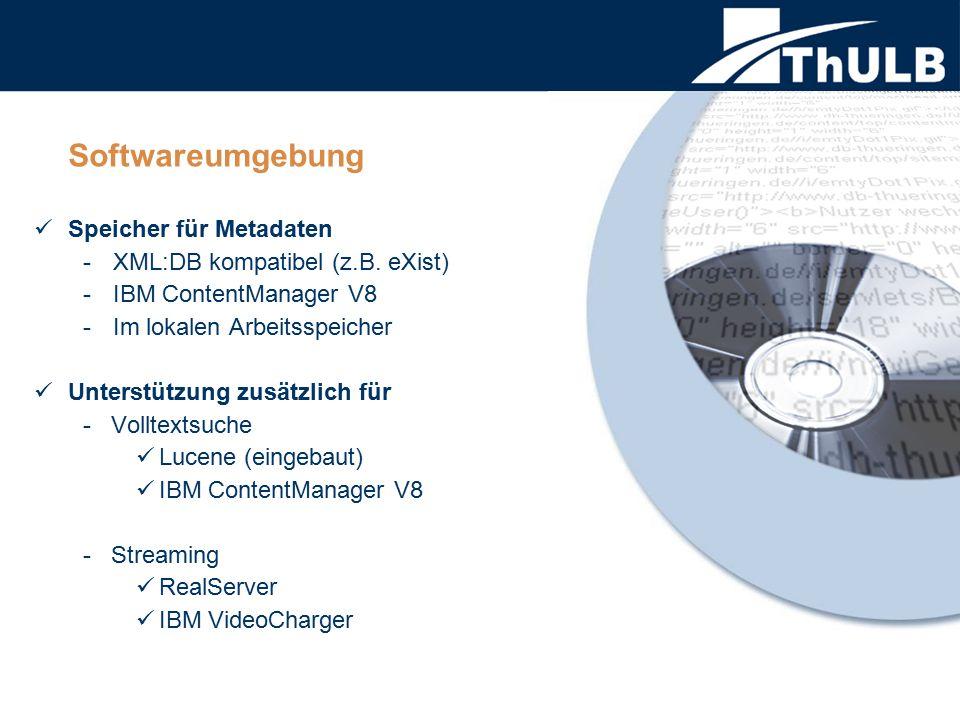 Softwareumgebung Speicher für Metadaten -XML:DB kompatibel (z.B. eXist) -IBM ContentManager V8 -Im lokalen Arbeitsspeicher Unterstützung zusätzlich fü
