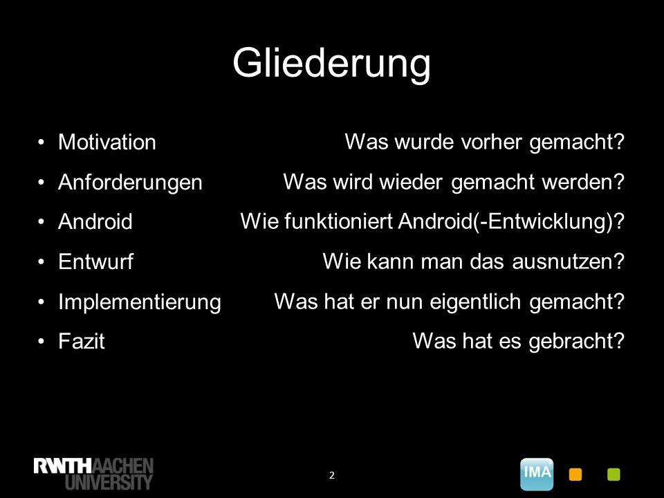 Gliederung 2 Motivation Anforderungen Android Entwurf Implementierung Fazit Was wurde vorher gemacht.
