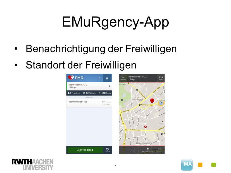 EMuRgency-App 7 Benachrichtigung der Freiwilligen Standort der Freiwilligen