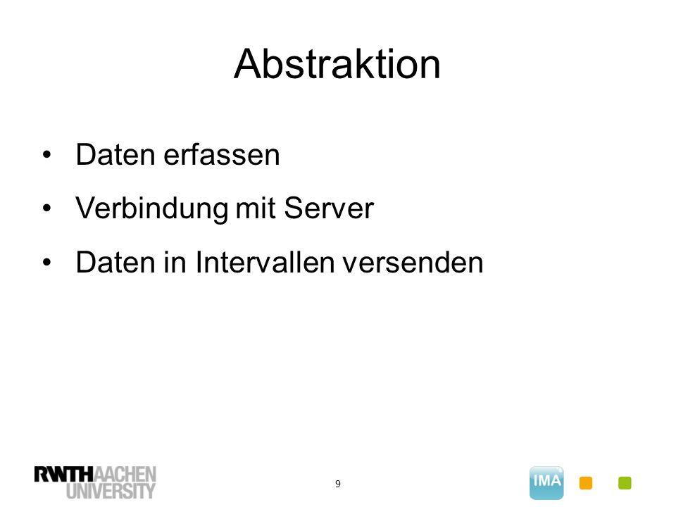 Abstraktion 9 Daten erfassen Verbindung mit Server Daten in Intervallen versenden