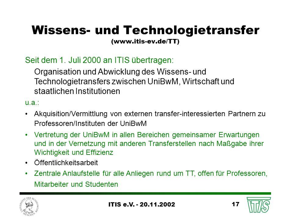 ITIS e.V. - 20.11.2002 17 Wissens- und Technologietransfer (www.itis-ev.de/TT) Seit dem 1.