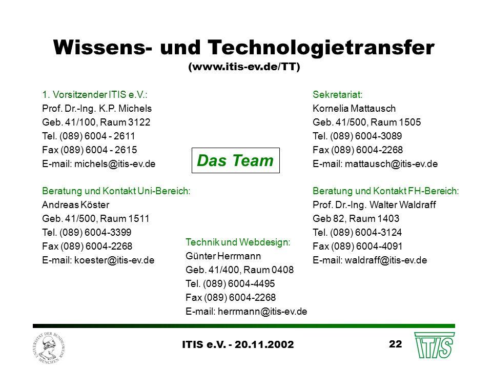 ITIS e.V. - 20.11.2002 22 Wissens- und Technologietransfer (www.itis-ev.de/TT) 1.