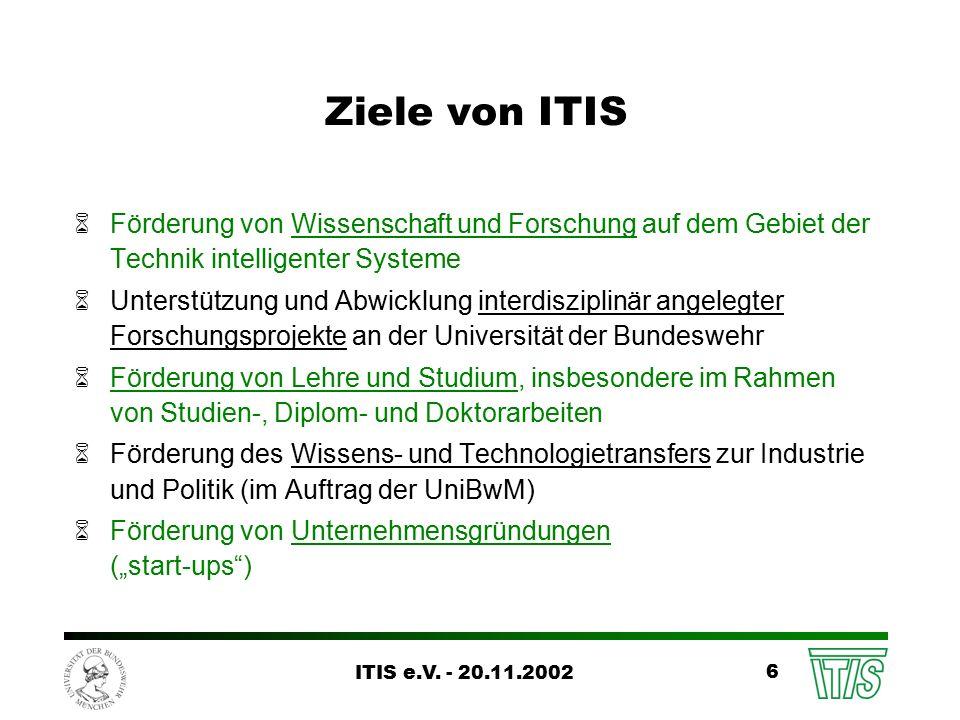 ITIS e.V.- 20.11.2002 17 Wissens- und Technologietransfer (www.itis-ev.de/TT) Seit dem 1.