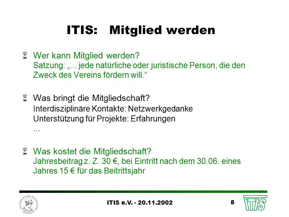 ITIS e.V. - 20.11.2002 8 ITIS: Mitglied werden 6Wer kann Mitglied werden.