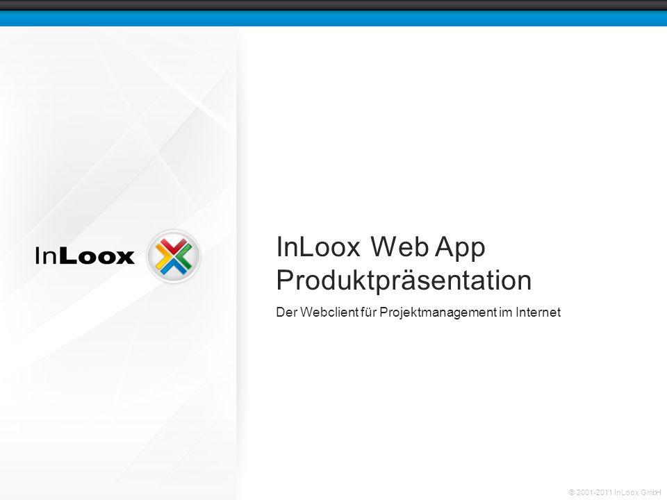Seite 12 InLoox Web App Produktpräsentation © 2001-2011 InLoox GmbH Projekte auf einfache Weise budgetieren Der finanzielle Rahmen eines Projektes lässt sich in InLoox Web App durch geplante und tatsächliche Ausgaben und Einnahmen schnell und einfach definieren.