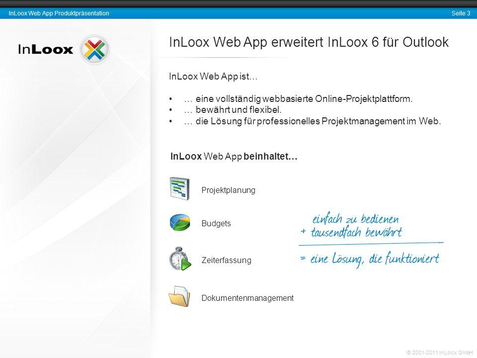 Seite 14 InLoox Web App Produktpräsentation © 2001-2011 InLoox GmbH Eckdaten und Referenzen InLoox ist seit 2003 als Standardprodukt am Markt Weltweite Installationen: mehr 30.000 Anwender Oberfläche in zwei Sprachen Einige Unternehmen, die InLoox bereits einsetzen: Weitere Referenzen und Fallstudien finden Sie unter folgendem Link: http://www.inloox.dehttp://www.inloox.de
