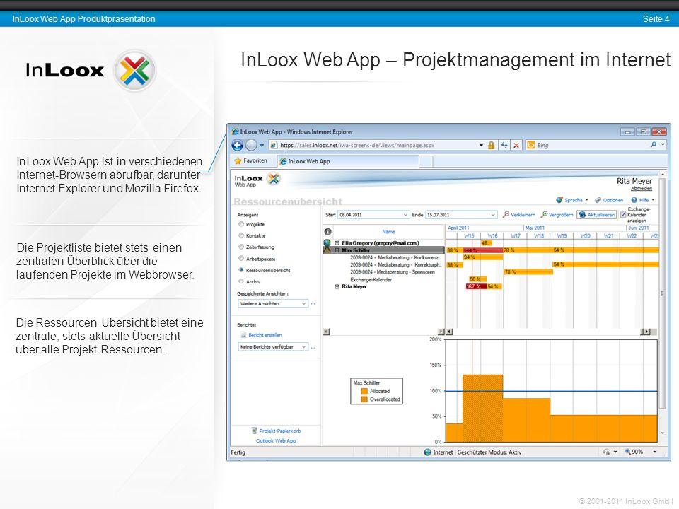Seite 4 InLoox Web App Produktpräsentation © 2001-2011 InLoox GmbH InLoox Web App ist in verschiedenen Internet-Browsern abrufbar, darunter Internet Explorer und Mozilla Firefox.
