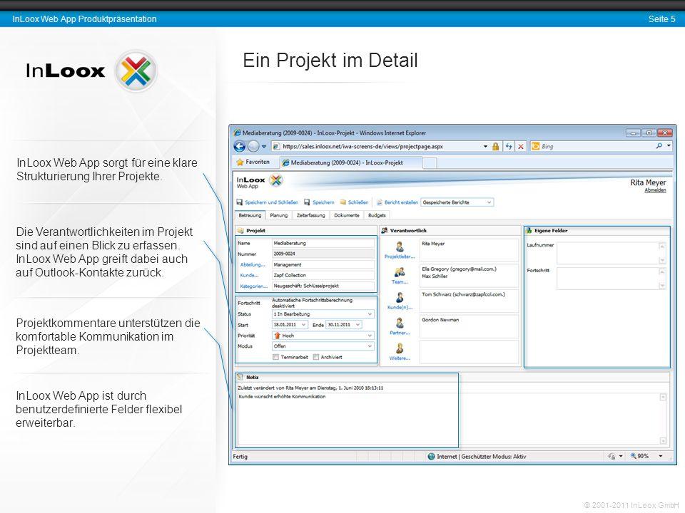 Seite 5 InLoox Web App Produktpräsentation © 2001-2011 InLoox GmbH Ein Projekt im Detail InLoox Web App sorgt für eine klare Strukturierung Ihrer Projekte.