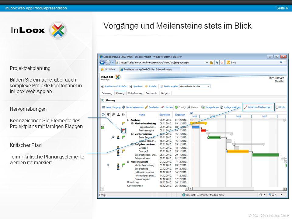 Seite 6 InLoox Web App Produktpräsentation © 2001-2011 InLoox GmbH Vorgänge und Meilensteine stets im Blick Hervorhebungen Kennzeichnen Sie Elemente des Projektplans mit farbigen Flaggen.