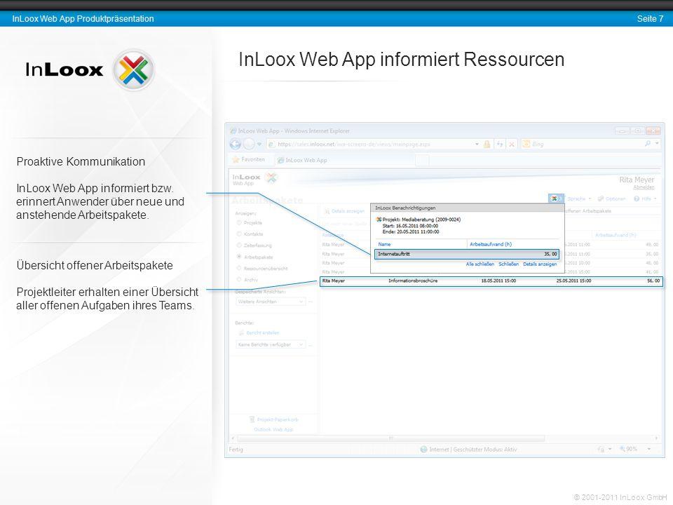 Seite 8 InLoox Produktpräsentation © 2001-2010 InLoox GmbH Rückmeldungen zum Projekt-Fortschritt Der Fertigstellungsgrad des Arbeitspakets wird automatisch in den Projektplan kommuniziert.