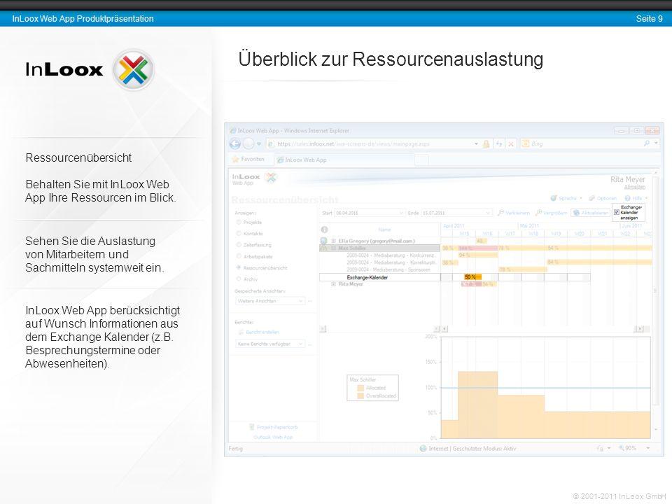 Seite 9 InLoox Web App Produktpräsentation © 2001-2011 InLoox GmbH Überblick zur Ressourcenauslastung Ressourcenübersicht Behalten Sie mit InLoox Web App Ihre Ressourcen im Blick.