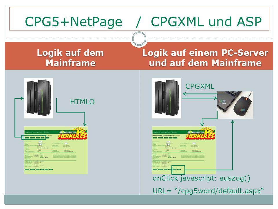 """Logik auf dem Mainframe Logik auf einem PC-Server und auf dem Mainframe CPG5+NetPage / CPGXML und ASP HTMLO onClick javascript: auszug() URL= """"/cpg5wo"""