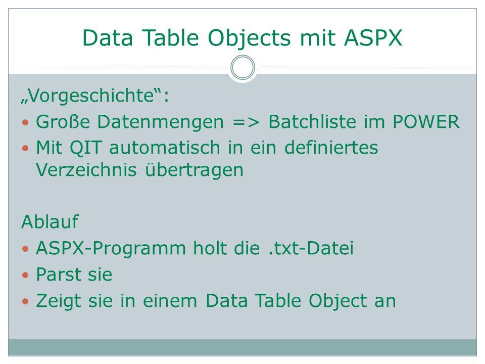 """Data Table Objects mit ASPX """"Vorgeschichte"""": Große Datenmengen => Batchliste im POWER Mit QIT automatisch in ein definiertes Verzeichnis übertragen Ab"""