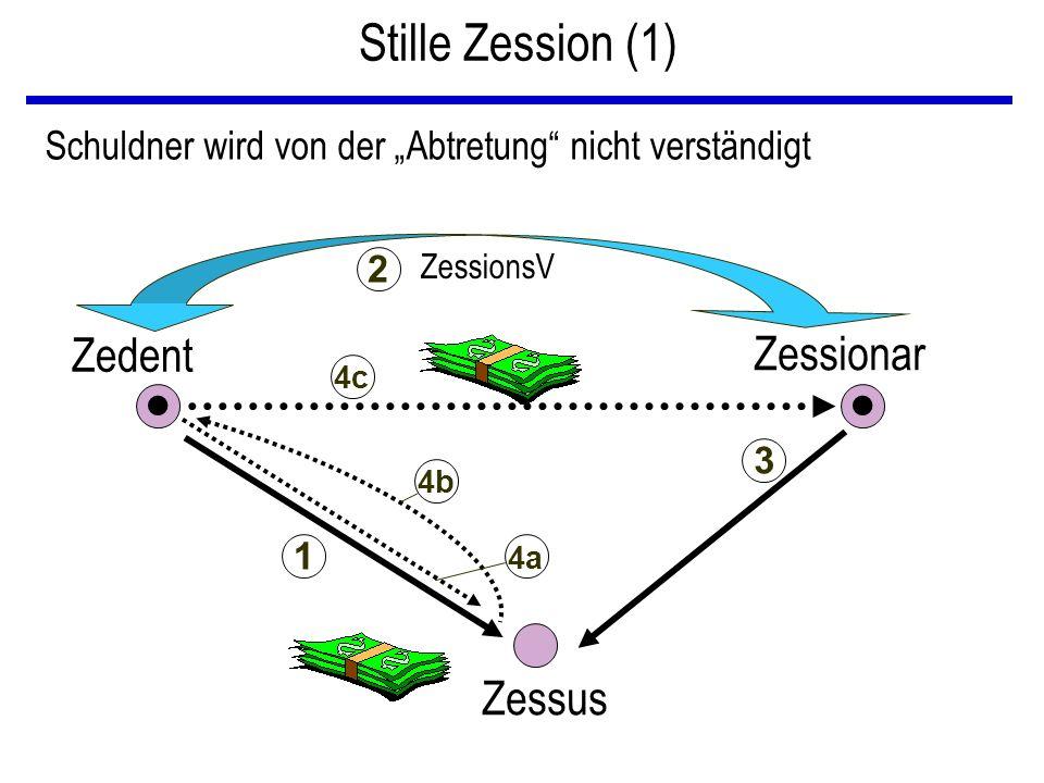 """Stille Zession (1) Zedent Zessionar Zessus Schuldner wird von der """"Abtretung nicht verständigt ZessionsV 1 2 3 4a 4b 4c"""