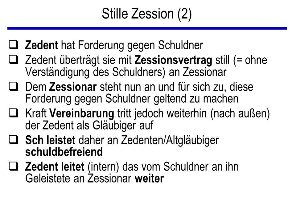 Sicherungszession VK Zedent Bank Zessionar Zessus ZessionsV K KreditV 3 1 2 gesicherte Forderung Sicherungsforderung