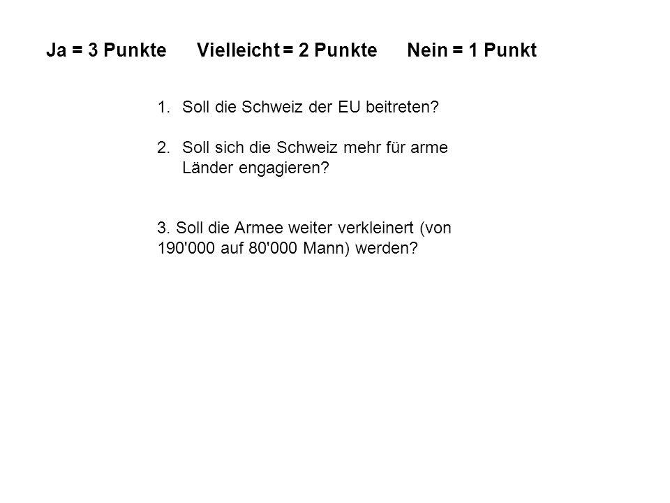 1.Soll die Schweiz der EU beitreten? 2.Soll sich die Schweiz mehr für arme Länder engagieren? 3. Soll die Armee weiter verkleinert (von 190'000 auf 80