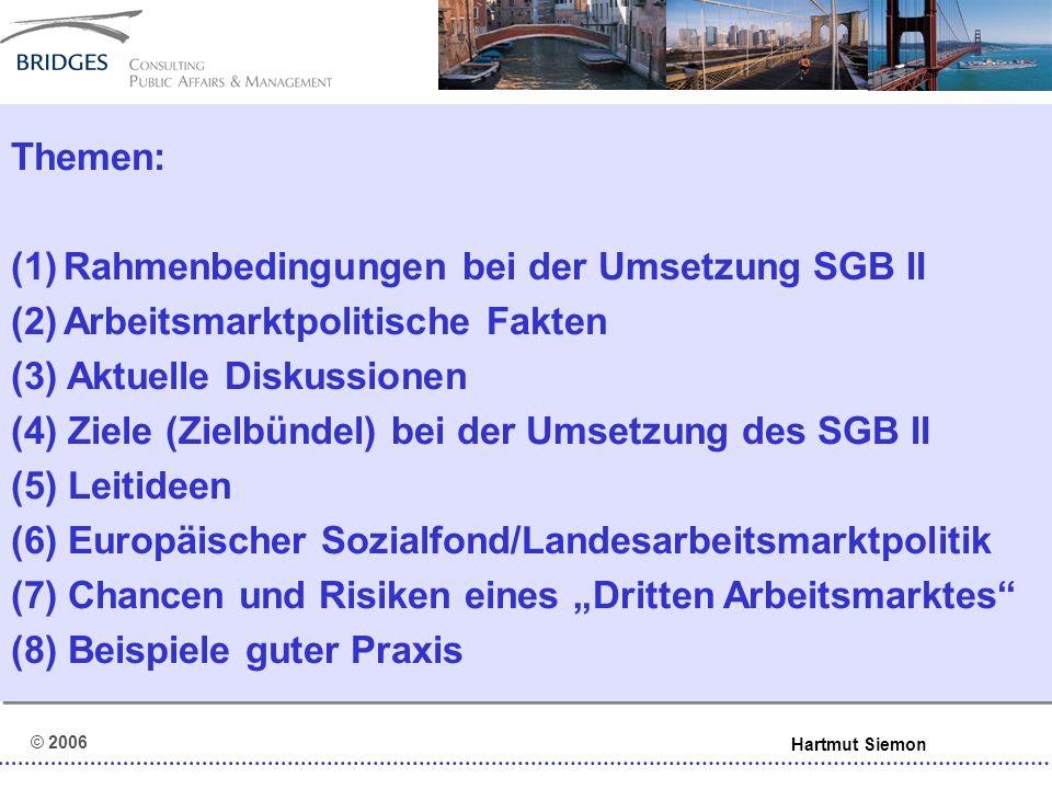 © 2006 Hartmut Siemon (4) Ziele (Zielbündel) bei der Umsetzung SGB II (Schnellere) Integration in den ersten Arbeitsmarkt Erhalt der Beschäftigungsfähigkeit Soziale Integration