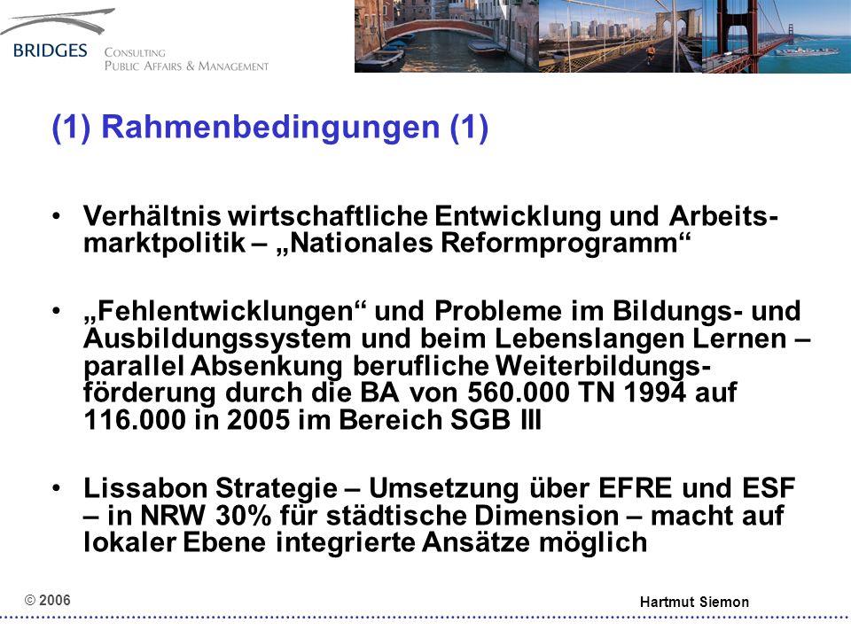 © 2006 Hartmut Siemon (5) Leitideen (1) Beratung und Aktivierung vor Leistung Individualisierung (versus standardisierte Handlungsprogramme) Steuerung über Zielvereinbarungen um lokal angepasste Umsetzung zu ermög- lichen – Elemente: input, output, outcome