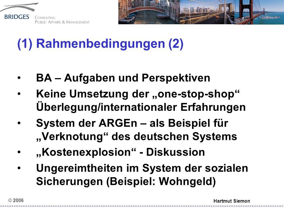 © 2006 Hartmut Siemon (5) Leitideen (3) Nutzung von Wettbewerbsverfahren (Ideen- und Teilnahmewettbewerbe) Erfahrungsaustausch und Benchmarking entsprechend Zielen – zwischen ARGEn, zwischen Optionskommunen, zwischen beiden – in Bezug auf input, output, outcome – unter Einbezug internationaler Erfahrungen