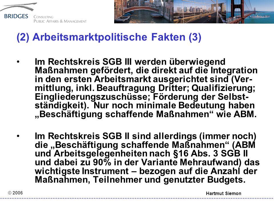 """© 2006 Hartmut Siemon (7) Chancen und Risiken eines """"Dritten Arbeitsmarktes – Alternativen:"""
