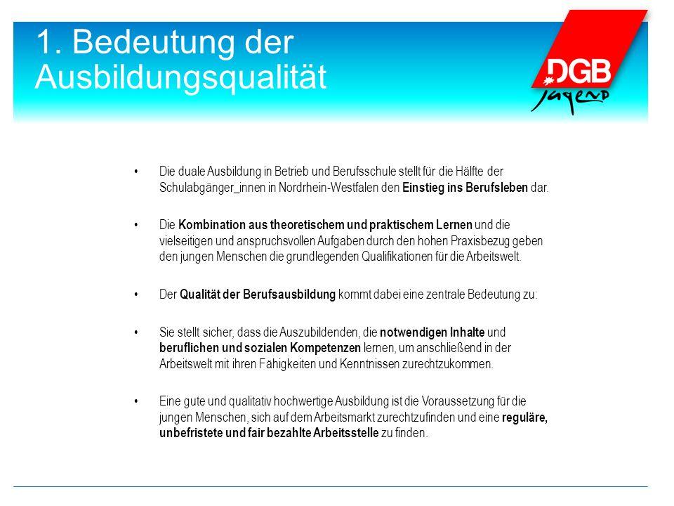 1. Bedeutung der Ausbildungsqualität Die duale Ausbildung in Betrieb und Berufsschule stellt für die Hälfte der Schulabgänger_innen in Nordrhein-Westf