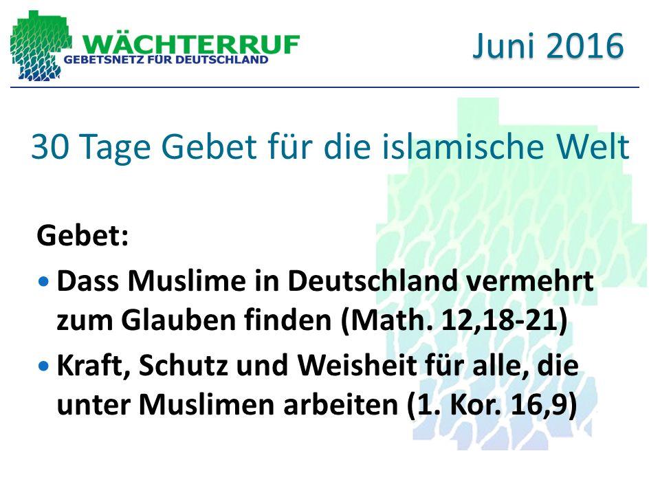 30 Tage Gebet für die islamische Welt Gebet: Dass Muslime in Deutschland vermehrt zum Glauben finden (Math.