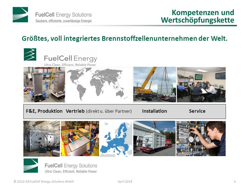 © 2012-16 FuelCell Energy Solutions GmbH 4 April 2016 Potenzielle Anwendungsumgebungen: Input-Output-Betrachtung Strom 47±2 % Wirkungsgrad 60 % als High Efficiency FC 98 % Zellverfügbarkeit Wärme Hochtemperatur- wärme (Abluft mit ca.