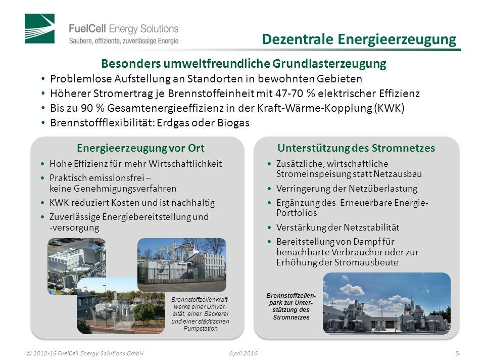 © 2012-16 FuelCell Energy Solutions GmbH 6 April 2016 Schadstofffreie Abluft * NMHC = Nichtmethankohlenwasserstoffe.