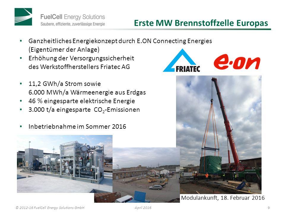 © 2012-16 FuelCell Energy Solutions GmbH 9 April 2016 Ganzheitliches Energiekonzept durch E.ON Connecting Energies (Eigentümer der Anlage) Erhöhung der Versorgungssicherheit des Werkstoffherstellers Friatec AG 11,2 GWh/a Strom sowie 6.000 MWh/a Wärmeenergie aus Erdgas 46 % eingesparte elektrische Energie 3.000 t/a eingesparte CO 2 -Emissionen Inbetriebnahme im Sommer 2016 Modulankunft, 18.